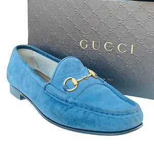Gucci Queen Thunder Suede Horsebit Loafers